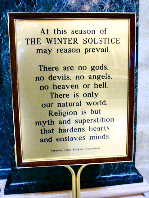 Atheist sign erected in Legislative Building in Olympia, Washington